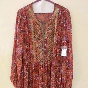 NWT! TIME & TRU, Embroidered Spice Peasant Dress
